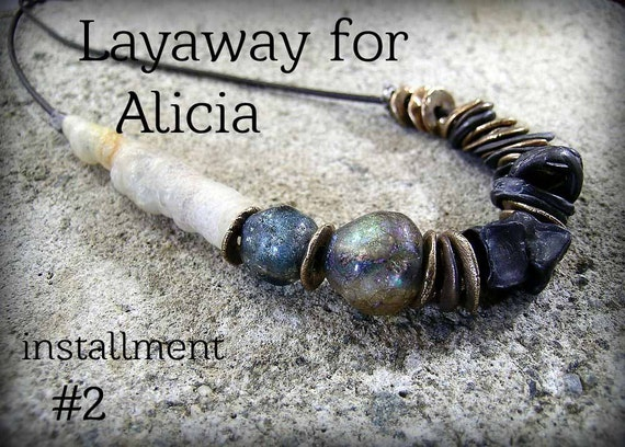 installment 2, LAYAWAY for ALICIA ... Urban Primitive Serendipity OOAK Necklace: Steel and Bronze, Agatized Bamboo and Basha Beads