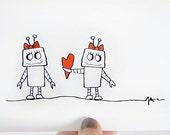 Lesbian Anniversary - Same Sex Relationship - Lesbian I Love You Girl - Robot Card