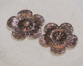 Antique Copper  filigree stampings with center dip for stones or beads   6614 acp