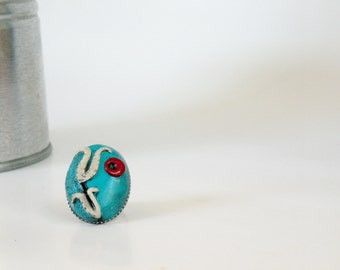 Adjustable Antique Finish Oval Turquoise Blue Ring with An Ottoman Style Tulip