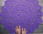 """Purple Cotton Crochet Doily Rug in 30"""" Circle Lacy Pattern"""
