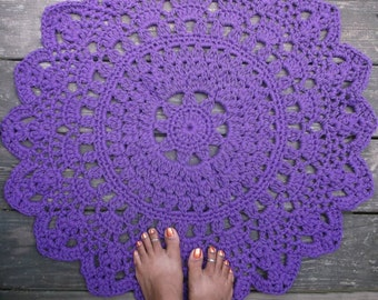 "Purple Cotton Crochet Doily Rug in 30"" Circle Lacy Pattern"