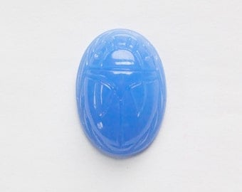 Vintage Calcedon Blue Scarab Glass Cabochon Japan cab319F