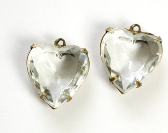 Clear Faceted Glass Heart Pendants 1 Loop Brass Ox Setting 15mm hrt006G