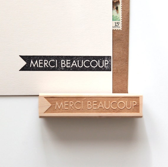 Merci Beaucoup, Thank You Rubber Stamp in French, Original Typographic Design (Wood Mounted) optional wooden handle (S101) Stocking Stuffer