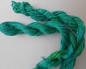 Deep Carribean GreenSilk Duo, hand dyed, Yarn, Mixed Media, Textile Art, Fiber Art, Serendipity