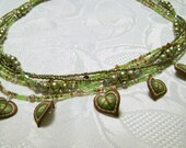Spring Leaves light green pearl beaded multistrand necklace