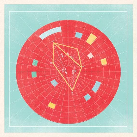 "Nautical Map ""RADIUS"" 12x12in"