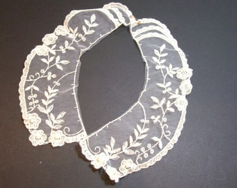 Ivory Netted Lace Collar Appliques Pearl Beaded Set of 2 Pieces, Lace Collar