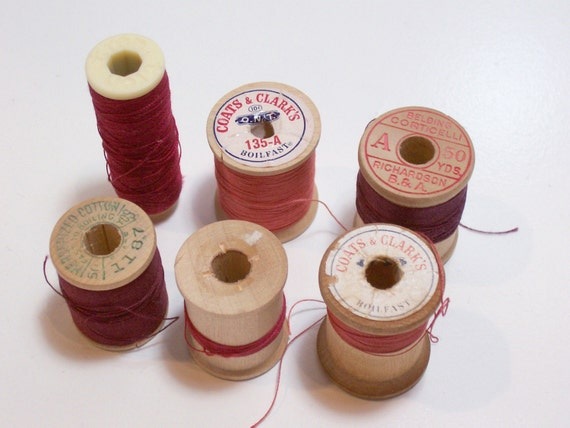 Vintage Red Thread on Wooden Spools One Plastic Spool set of 6 CLEARANCE / Craft Supplies/ Sewing Trim