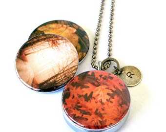 Autumn Leaves Locket Necklace, Burnt Orange Path in the Forest Artist Photography, Stamped Initial Charm, Magnetic, Interchangeable Polarity