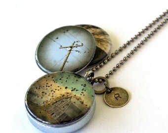 Bird on Wire Necklace - Barn Bird Locket - Rustic Photography Jewelry - Picture Locket - Magnetic Necklace by Polarity and Jude McConkey