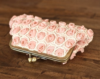 SALE - Pink Champagne/Ivory Chiffon Rosette Clutch with Antique Brass Frame