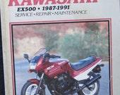 Clymer Kawasaki EX500 Motorcycle Repair Manual 1987 1991
