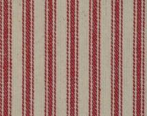 Ticking Material   Ticking Fabric   Striped Material   Striped Fabric   Vintage Inspired Ticking   Red Cotton Ticking Material    1 Yard