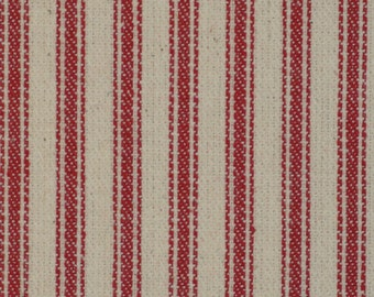 Ticking Material | Ticking Fabric | Red Striped Material | Striped Fabric | Vintage Inspired Ticking | Red Cotton Ticking Material |  1 Yard