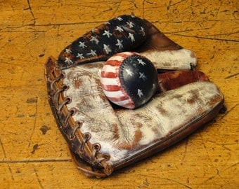 Handpainted Americana Stars And Stripes Old Leather Baseball Glove With Baseball