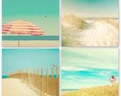 Ocean photography, beach art, waves, seaside, turquoise, aqua, 12x12 prints, blue green, summer, sand, seashells, red umbrella, lighthouse