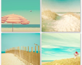 Ocean photography, beach art, waves, seaside, turquoise, aqua, blue green, summer, sand, seashells, red umbrella, lighthouse