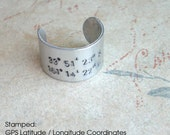 GPS Cuff Ring . Aluminum Lat/Long Coordinates . Customize . Hand Stamped One Size Fits All Ring. antiqued metal, brushed silver nickel color