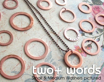 GPS Hand Stamped Copper Washer . Lat Long . Small, Medium Sizes . Genuine Copper Metal . Very Thick, Sturdy Charm . Wedding, Name, Date