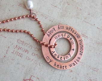 "Genuine Copper Washer Necklace - Hand Stamped Double Washers, 18"" Bright Copper Ball Chain, Lat/Long Coordinates, Name, Dates Mother's Day"