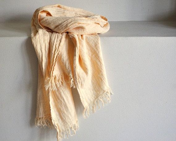Scarf women men yellow beige striped natural linen cotton