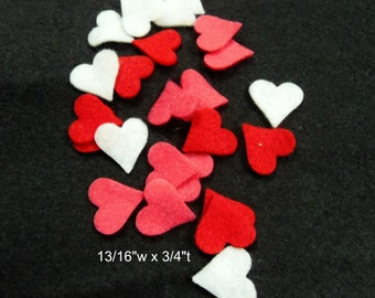 Tiny Felt Heart 24 pcs Red, Shocking Pink and White craft felt