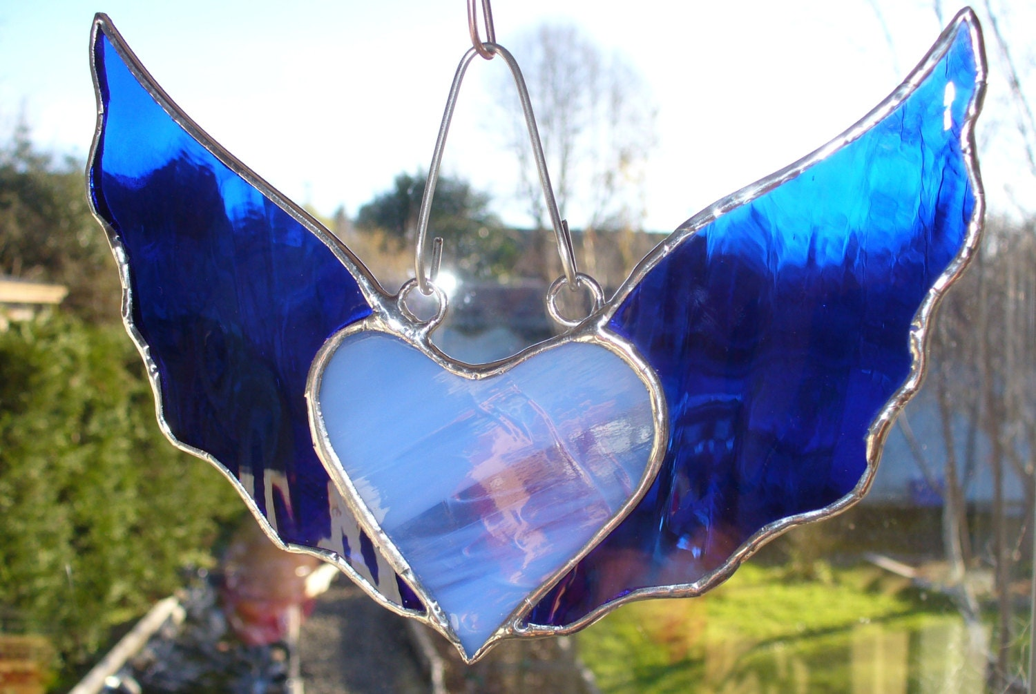 Stained Glass Heart with Wings Suncatcher Cobalt Blue - photo#19