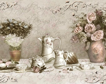 Tea Time Digital Roses and Hot Chocolate Instant Digital Download collage 1914, gift tag - Norwegian Postcard - FrA152