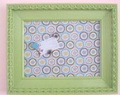 Lime Green Fabric Covered Magnetic Board with Vintage Frame