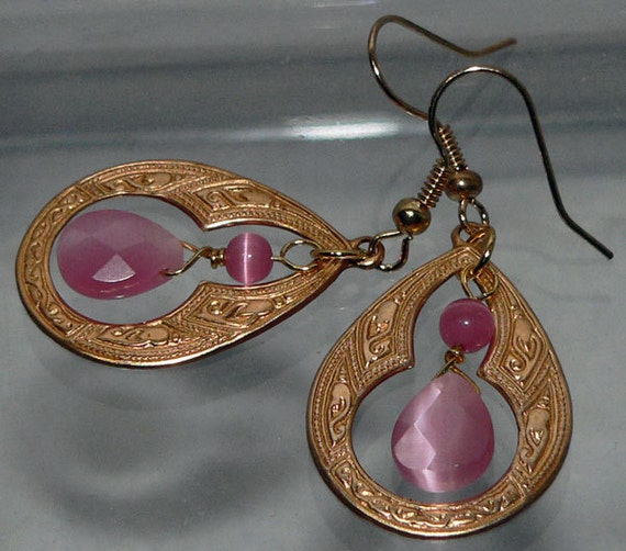 Pink Glass Earrings Brass Teardrop Dangle Jewelry