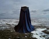 Black Cloak Cape Fleece Hooded Renaissance  Halloween Medieval Gothic  Costume Harry Potter