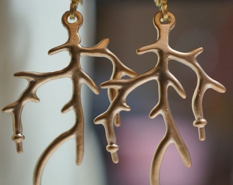 Vintage 18K Matte Gold Finished Simple Tree BranchEarrings - 1 pair
