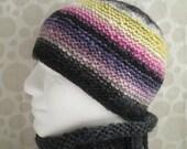KNITTING Pattern/SANTA FE Mans Hat Pattern Aran Noro Wool Knit Round  Intermediate Level/Mans Woolen Hat Pattern/ Garter stitch Aran Beanie