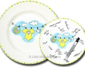Ready to Ship - Hand Painted Signature Baby Shower Plate - Baby Clothes Line Design