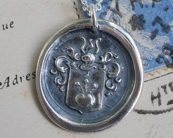 heart and flowers armorial wax seal necklace ... hope, love and peace - silver antique wax seal jewelry