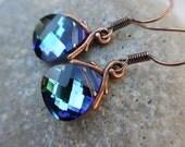 Blue Green Crystal Earrings, Swarovski Crystals with Copper, Cobalt Blue, Bermuda Blue, Green Earrings, Irisjewelrydesign, Fashion