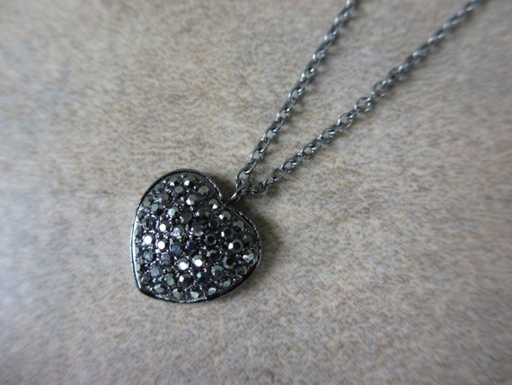 Heart Pendant Necklace, Black, Oxidized, Cubic Zirconia, Irisjewelrydesign