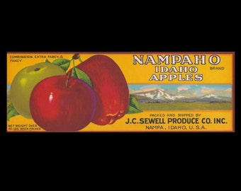 Vintage Advertising Nampaho Idaho Apples Crate Label - J.C. Sewell Produce Company