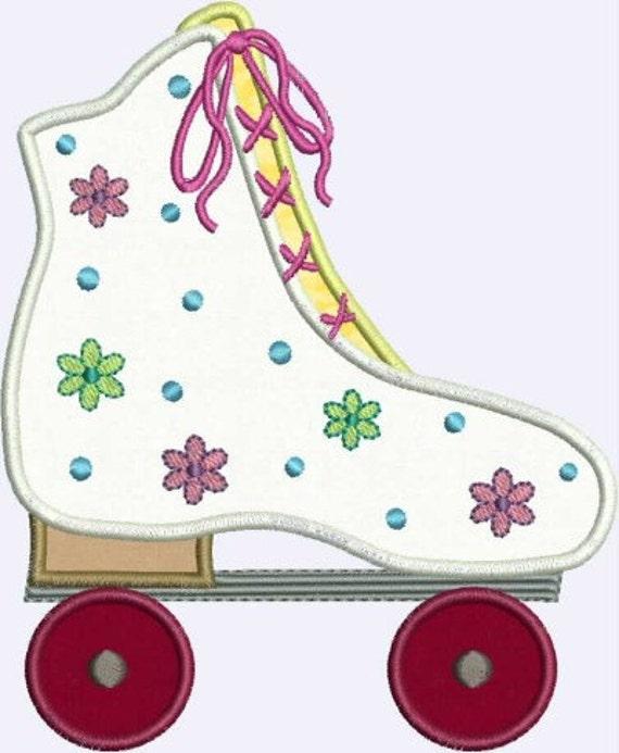 INSTANT DOWNLOAD Flower Power Roller Skate Applique designs 2 sizes