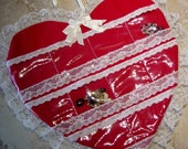 Valentine Red Heart  Fabric Jewelry Organizer, Clear Pocket Organizer, Valentines Gift