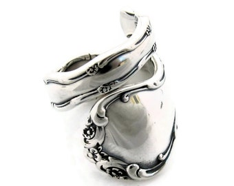 Heavy Wide Wrapped Spoon Ring Solid Sterling Silver Tara Size 6-12 Classic Rococo 1955