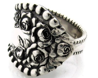 Sterling Silver Spoon Ring Size 6-9 Lancaster Rose