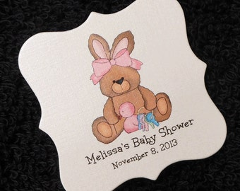 Personalized Baby Shower Favor Tags, baby bunny with toys, set of 20