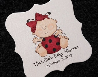 Personalized Baby Shower Favor Tags, baby girl ladybug, set of 20