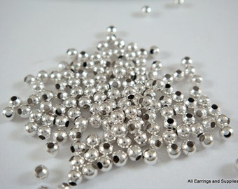 250 Silver Spacer Beads 2mm Plated Iron Metal Beads - 4.5 grams - M7046-S250