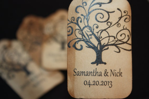 100 Tree Wedding Favor Tags Personalized Tree