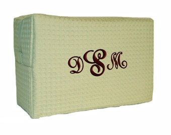 Personalized Waffle Cosmetic Bag Sage Monogrammed Bridesmaid Gift Case Large