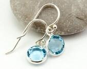 Custom Birthstone Earrings - Set of 6 Pairs of Earrings - March Birthstone Earrings Dangle Earrings Sterling Silver Swarovksi Crystal